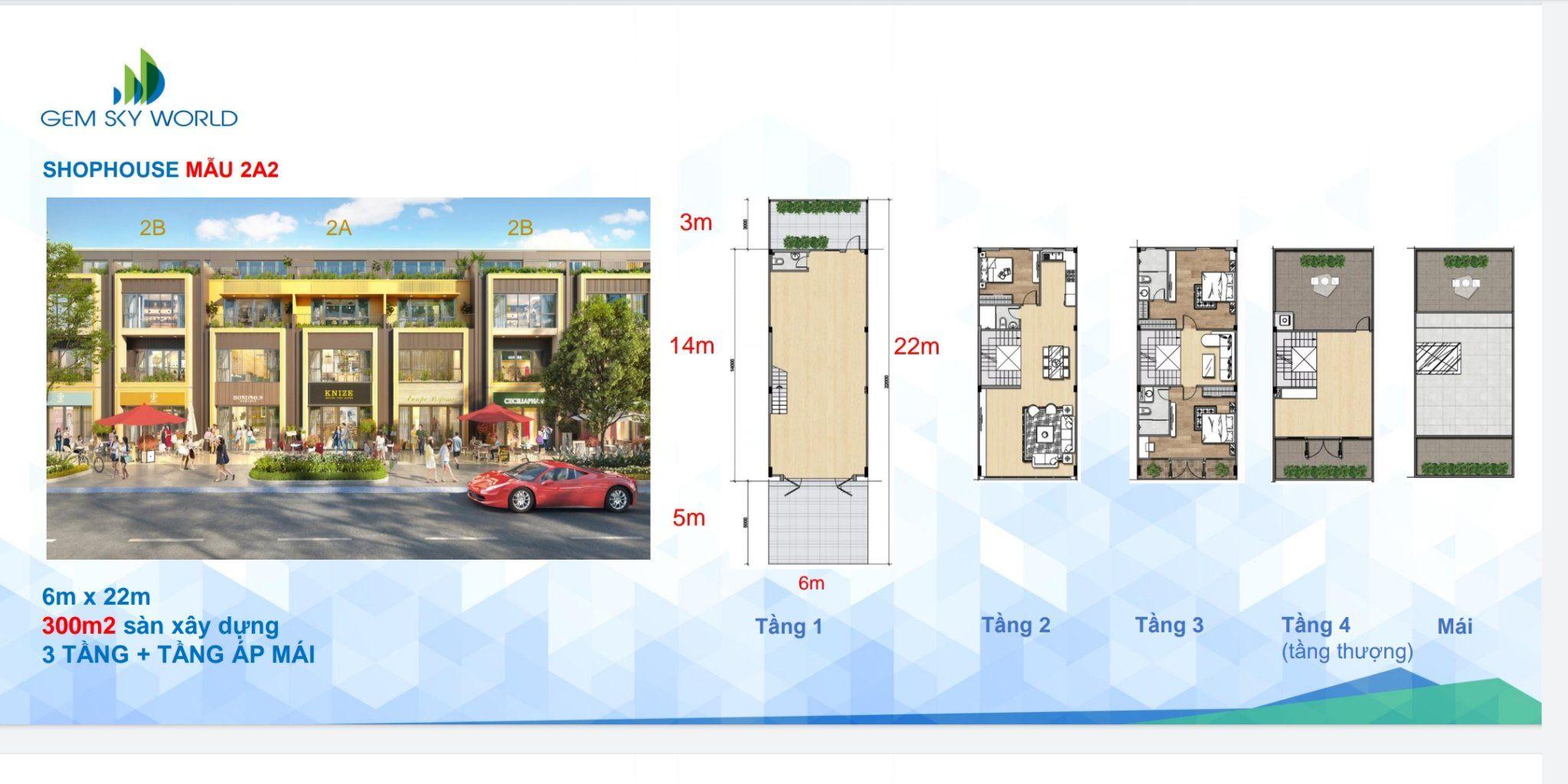 Thiết kế Shophouse dự án Gem Sky Word