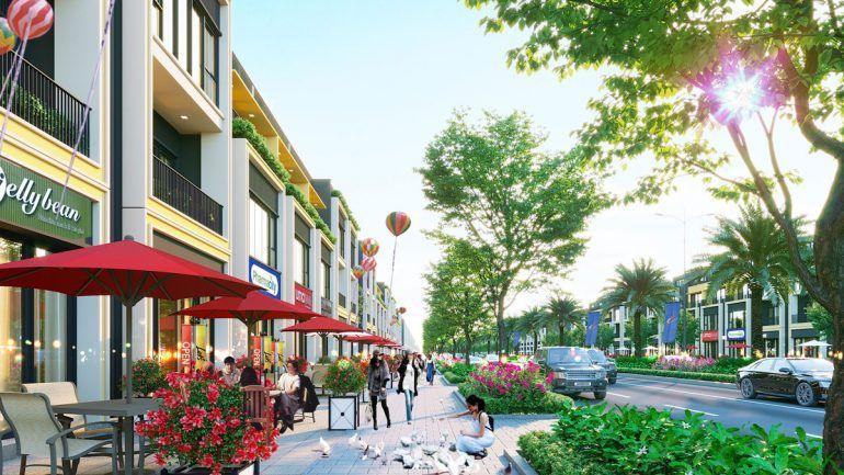 Quảng trường tập trung &Chuỗi nhà hàng ẩm thực - cafe hoạt động tại khu thương mại dự án.tuyến đường nội bộ tại dự ánrộng từ 15 đến 32m. Vỉa hè rộng thoáng mát từ 5-7m
