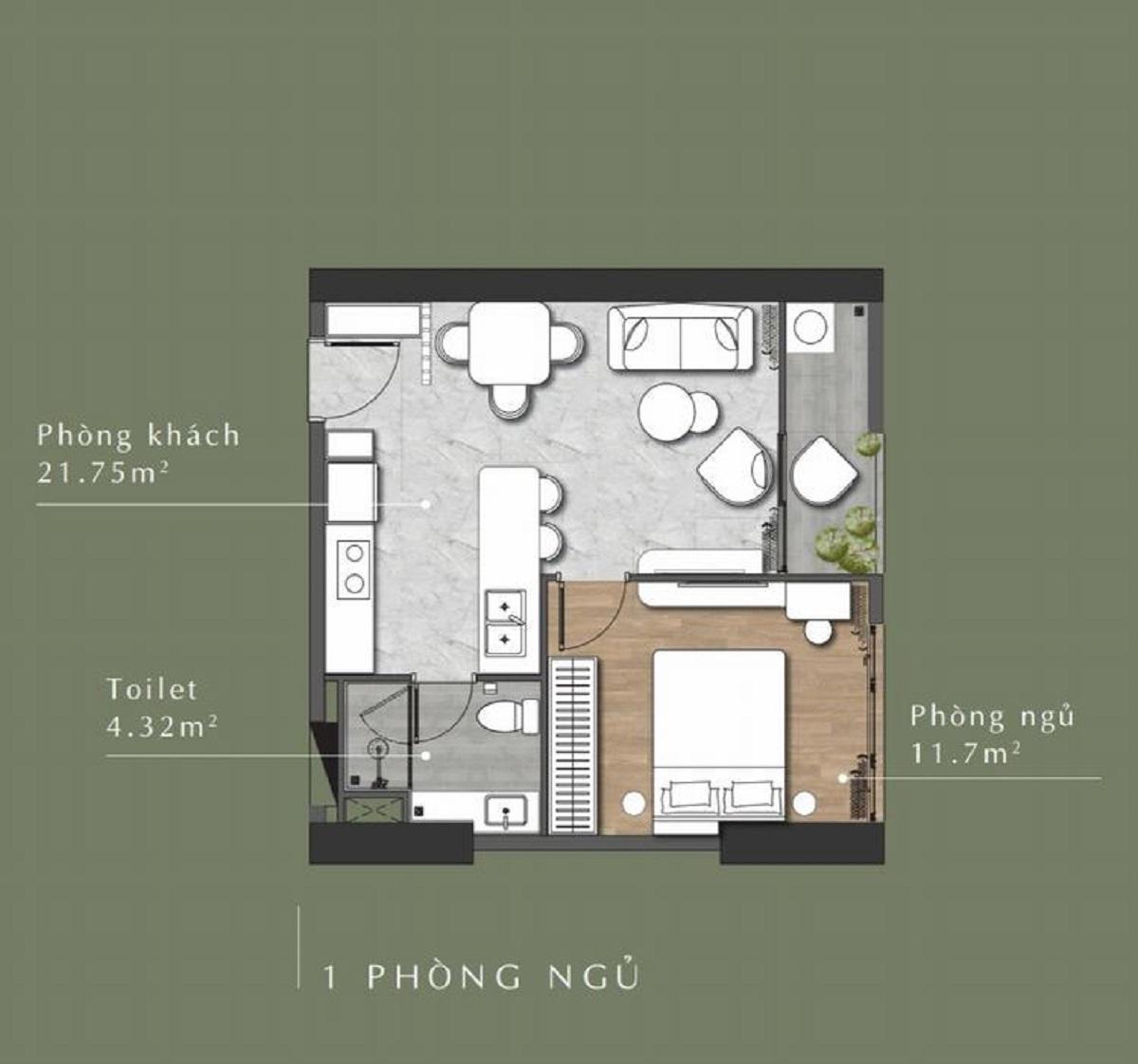 Thiết kế căn hộ 1 phòng ngủStella En Tropic