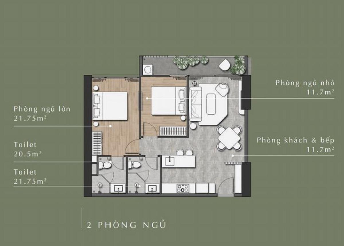 Thiết kế căn hộ 2 phòng ngủStella En Tropic