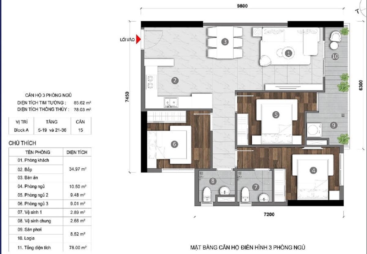 Thiết kế căn hộ 3 phòng ngủStella En Tropic