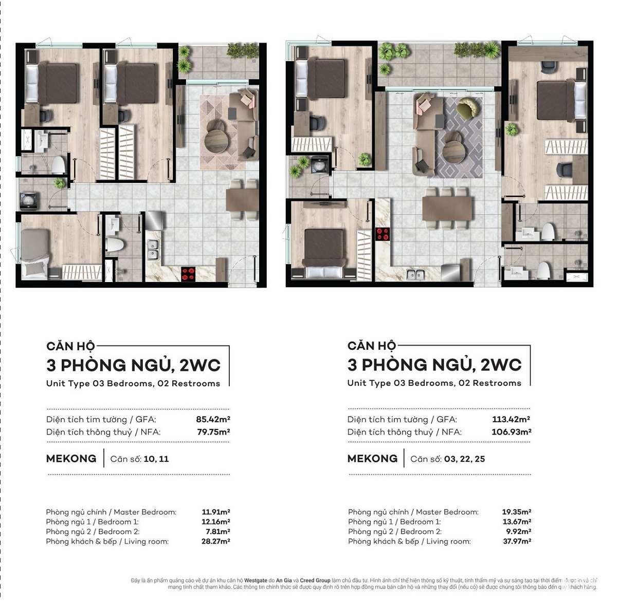 Các căn hộ được thiết kế đa dạng diện tích