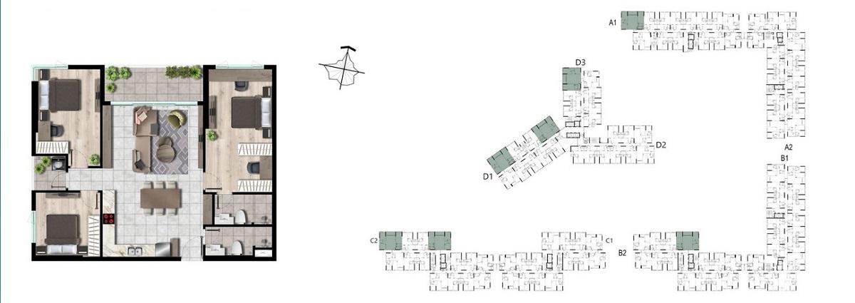 Thiết kế căn hộ 3 phòng ngủ dự án West Gate