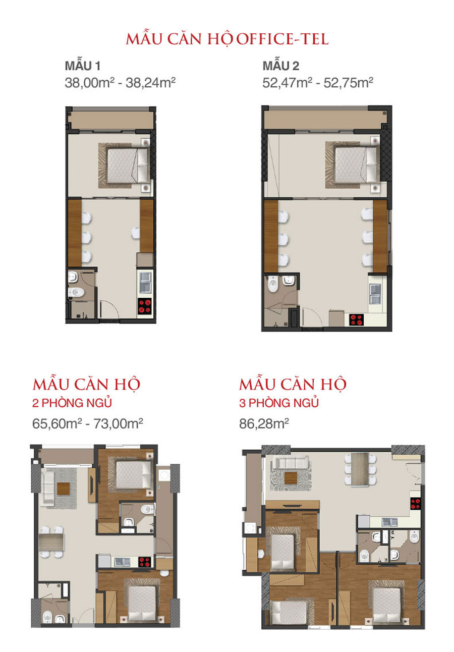 mau can ho office 1 phong ngu richmond city